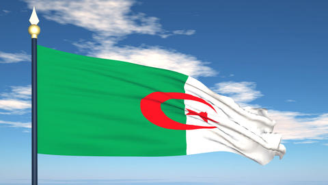 Flag Of Algeria Stock Video Footage