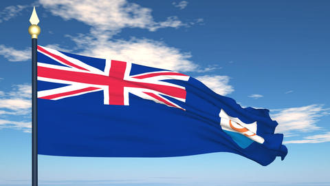 Flag Of Anguilla Stock Video Footage
