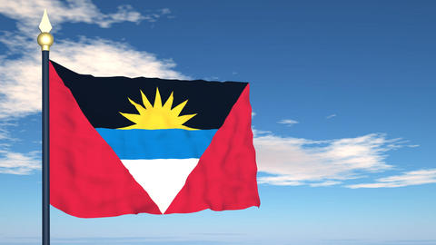 Flag Of Antigua and Barbuda Stock Video Footage