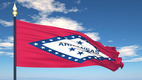 Flag of the state of Arkansas USA Stock Video Footage