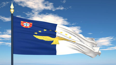 Flag Of Azores Stock Video Footage