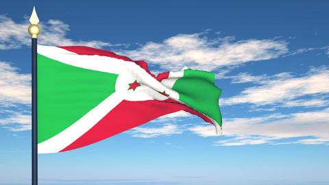 Flag Of Burundi Stock Video Footage