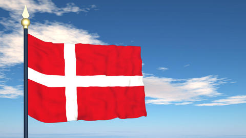 Flag Of Danmark Stock Video Footage