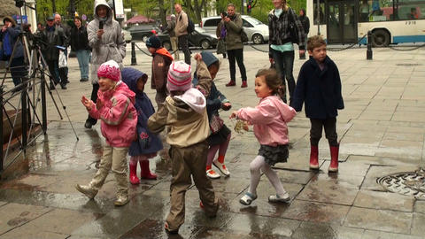 Children dancing in the street Stock Video Footage