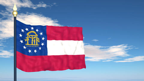 Flag of the state of Georgia USA Stock Video Footage