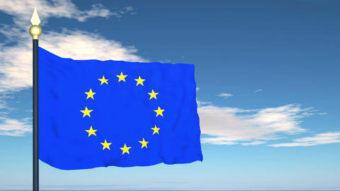 Flag Of European Union Stock Video Footage