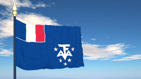 Flag Of French Southern and Antarctic Lands Stock Video Footage