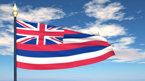 Flag of the state of Hawaii USA Animation