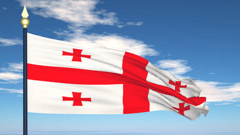 Flag Of Georgia Stock Video Footage