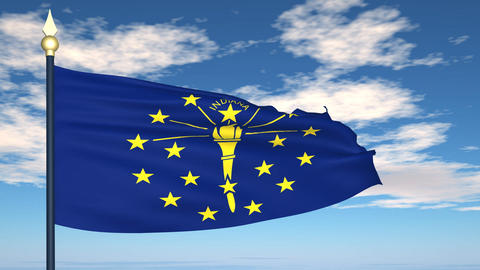 Flag of the state of Indiana USA Stock Video Footage