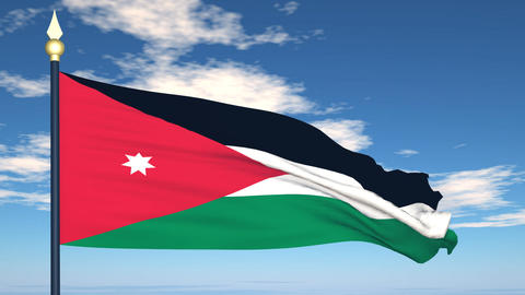 Flag Of Jordan Stock Video Footage