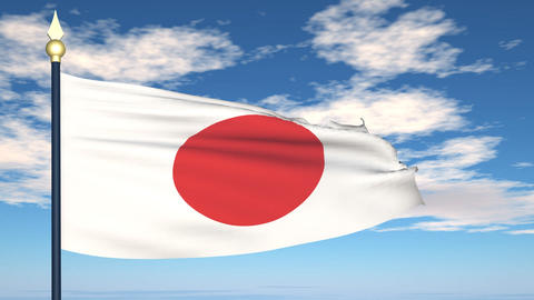 Flag Of Japan Stock Video Footage