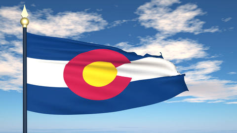 Flag of the state of Colorado USA Animation