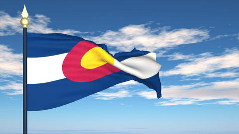 Flag of the state of Colorado USA Stock Video Footage