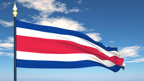 Flag Of Costa Rica Stock Video Footage