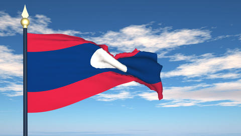 Flag Of Laos Stock Video Footage