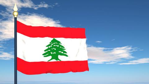 Flag Of Lebanon Stock Video Footage