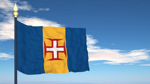 Flag Of Madeira Stock Video Footage