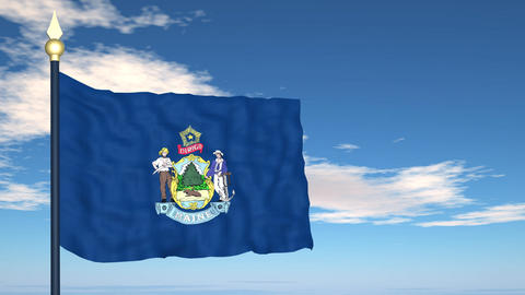 Flag of the state of Maine USA Stock Video Footage