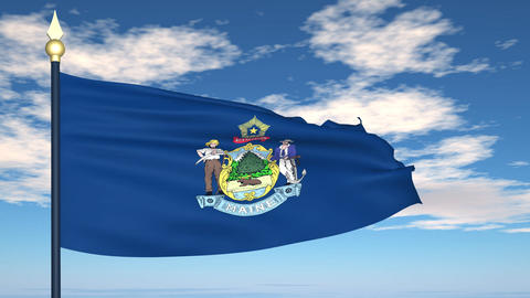 Flag of the state of Maine USA Animation
