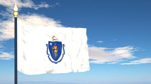 Flag of the state of Massachusetts USA Stock Video Footage