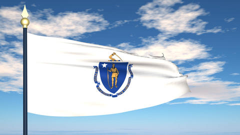 Flag of the state of Massachusetts USA Animation