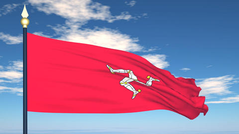 Flag Of Isle of Man Stock Video Footage