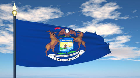 Flag of the state of Michigan USA Stock Video Footage