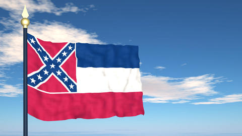 Flag of the state of Mississippi USA Stock Video Footage