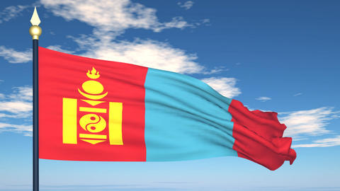 Flag Of Mongolia Stock Video Footage