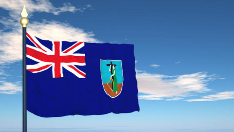Flag Of Montserrat Stock Video Footage