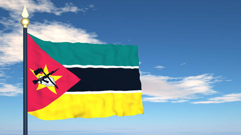 Flag Of Mozambique Stock Video Footage