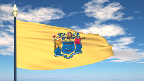 Flag of the state of New Jersey USA Stock Video Footage