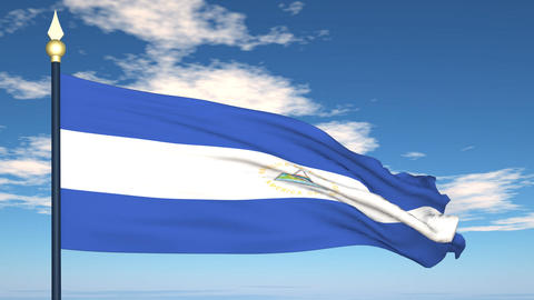 Flag Of Nicaragua Stock Video Footage
