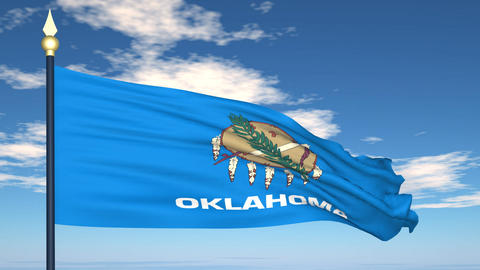 Flag of the state of Oklahoma USA Stock Video Footage