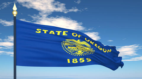 Flag of the state of Oregon USA Stock Video Footage