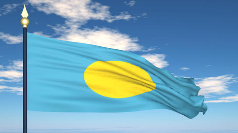 Flag Of Palau Stock Video Footage