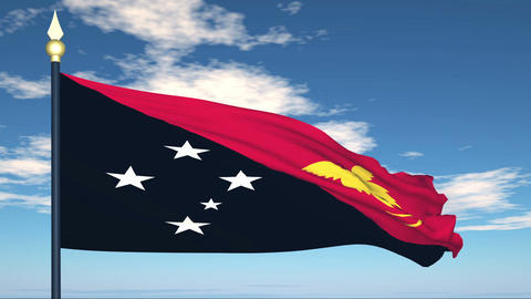 Flag Of Papua New Guinea Stock Video Footage