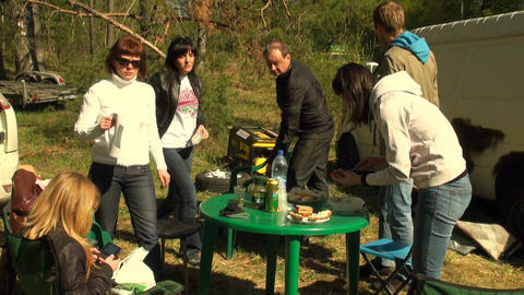 Picnic on the nature Stock Video Footage