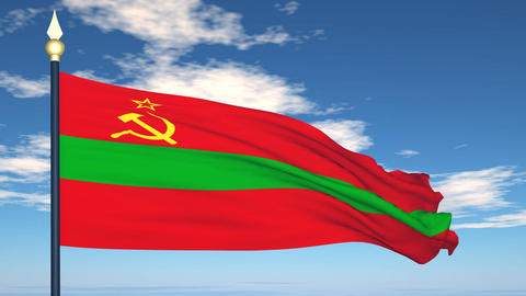 Flag Of Transnistria Stock Video Footage