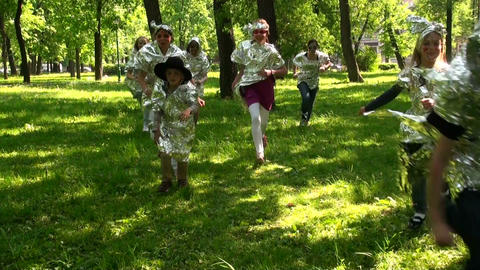 Running on the grass, children Footage