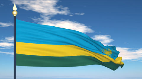 Flag Of Rwanda Stock Video Footage