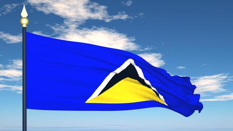 Flag Of Saint Lucia Stock Video Footage