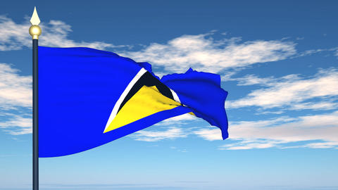Flag Of Saint Lucia Stock Video Footage