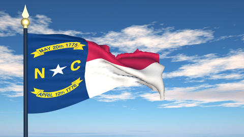Flag of the state of North Carolina USA Stock Video Footage