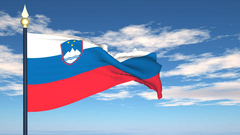 Flag Of Slovenija Stock Video Footage