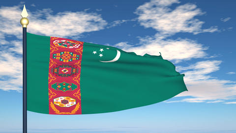 Flag Of Turkmenistan Stock Video Footage