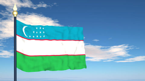 Flag Of Uzbekistan Stock Video Footage
