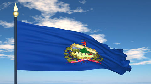 Flag of the state of Vermont USA Stock Video Footage