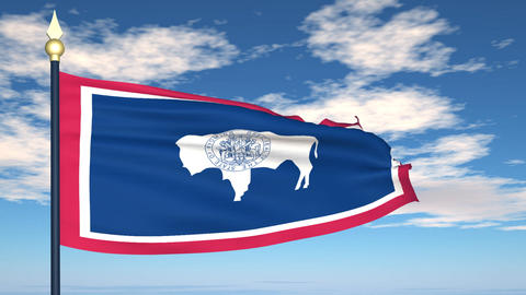 Flag of the state of Wyoming USA Animation
